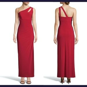 NEW $188 XSCAPE Keyhole One-Shoulder Evening Gown